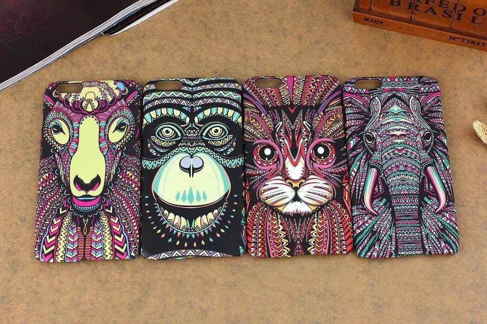 2016 nova moda luminosa em relevo sentir animal elefante macaco gato estilo impressão pc case para iphone 5 5s 6 6 plus phone case