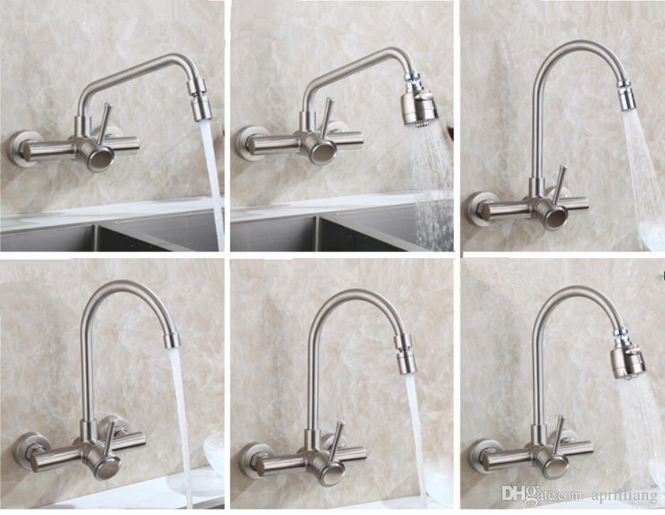 2019 Modern Bathroom Wall Mounted Kitchen Sink Faucet Swivel Spout Sprayer  Mixer Stainless Steel 304 Brushed Nickel Basin Tap Single Handle From ...