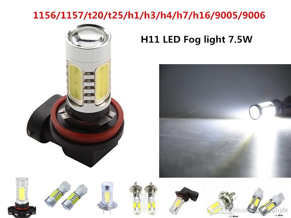 Lights 1156 1157 t20 t25 h1 h3 h4 h7 h11 9005 9006 White LED Bulb 7.5W Fog Driving Lights Lamp