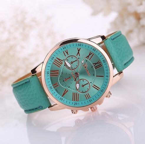 14Color cadeau de Noël Fashion Genève montres montre-bracelet chiffres romains faux cuir coloré bonbons quartz mignon poignet exquis DHL