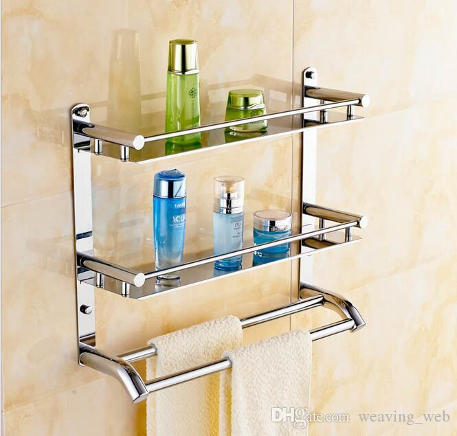 Towel Hanger Part - 25: ... 40cm Multifunctional Towel Holder High Bearing Luxury Bathroom  Stainless Steel Towel Rack Bilayer Wall Mounted Towel ...