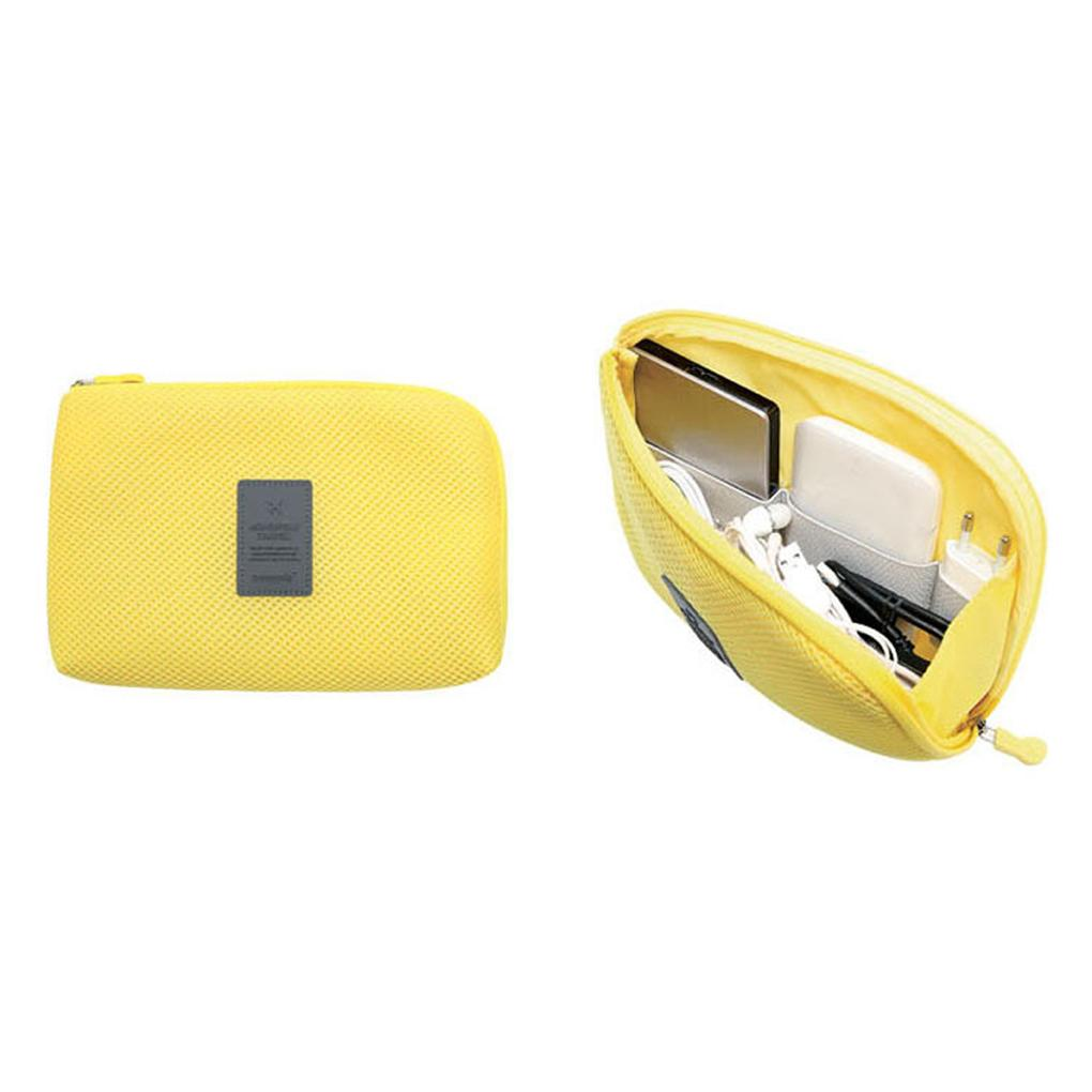 Wholesale- Yellow Travel Data Cable Charger Storage Bag Mobile Power Pack Pouch Bag