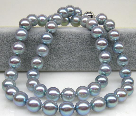 Очаровательная 8-9мм натуральный Akoya серый жемчужное ожерелье 18inch 925 серебряное Застежка