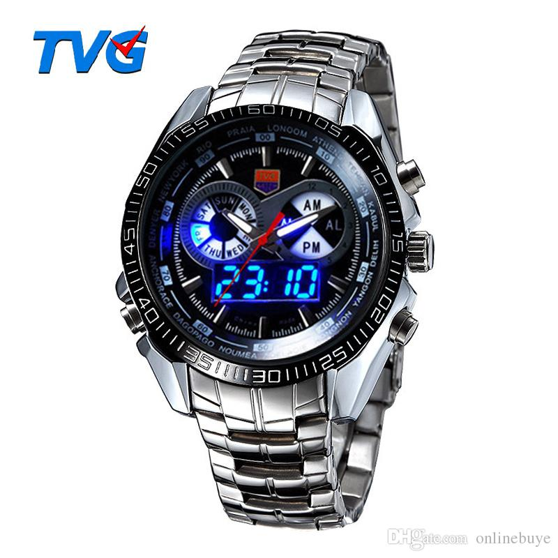TVG Luxury Men's Sports Watches Fashion Clock Stainless Steel Watch LED Digtal Watches Men 30AM Waterproof Wristwatch Relogio Masculino