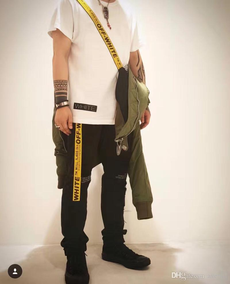 scarpe di separazione 6f761 a2882 Acquista Bianco Bagno O Virgil Abloh Cintura Donna Ricamo Simbolo Giallo  Tagliato Fuori Off Main Street I Skateboard Hip Hop Keny Weist Belt A  $26.91 ...