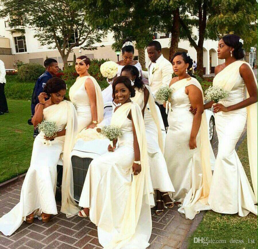 African 2016 Hot Ivory Elastic Silk Like Satin Chiffon One Shoulder Long Mermaid Bridesmaid Dresses Maid Honor Gowns Custom EN9182