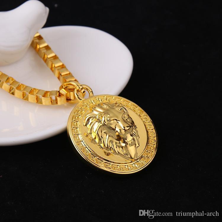 Goldkette mit anhänger herren  Großhandel Hot 18k Gold Überzog Lion Medallion Kopf Anhänger Für ...