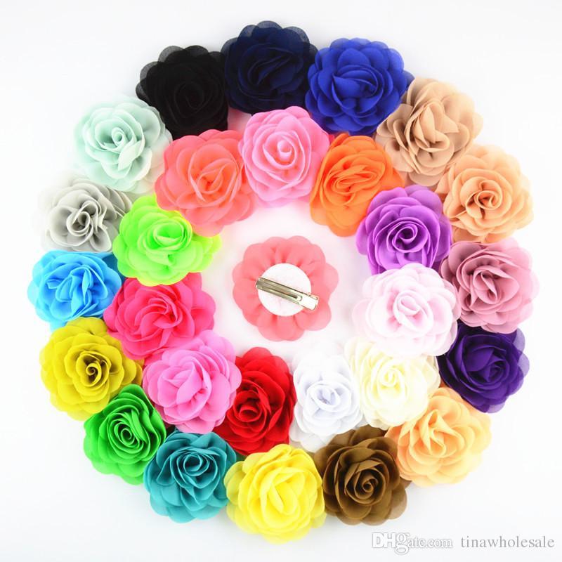 Fiore di rosa del tessuto di chiffon da 8 cm con clip di alligatore per accessorio dei capelli del bambino 24pcs / lot