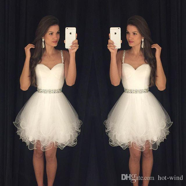 2019 Little White Homecoming Dresses Spaghetti Straps With Beads Tulle Cocktail Dresses Formal Party Dresses Prom Gowns For Women