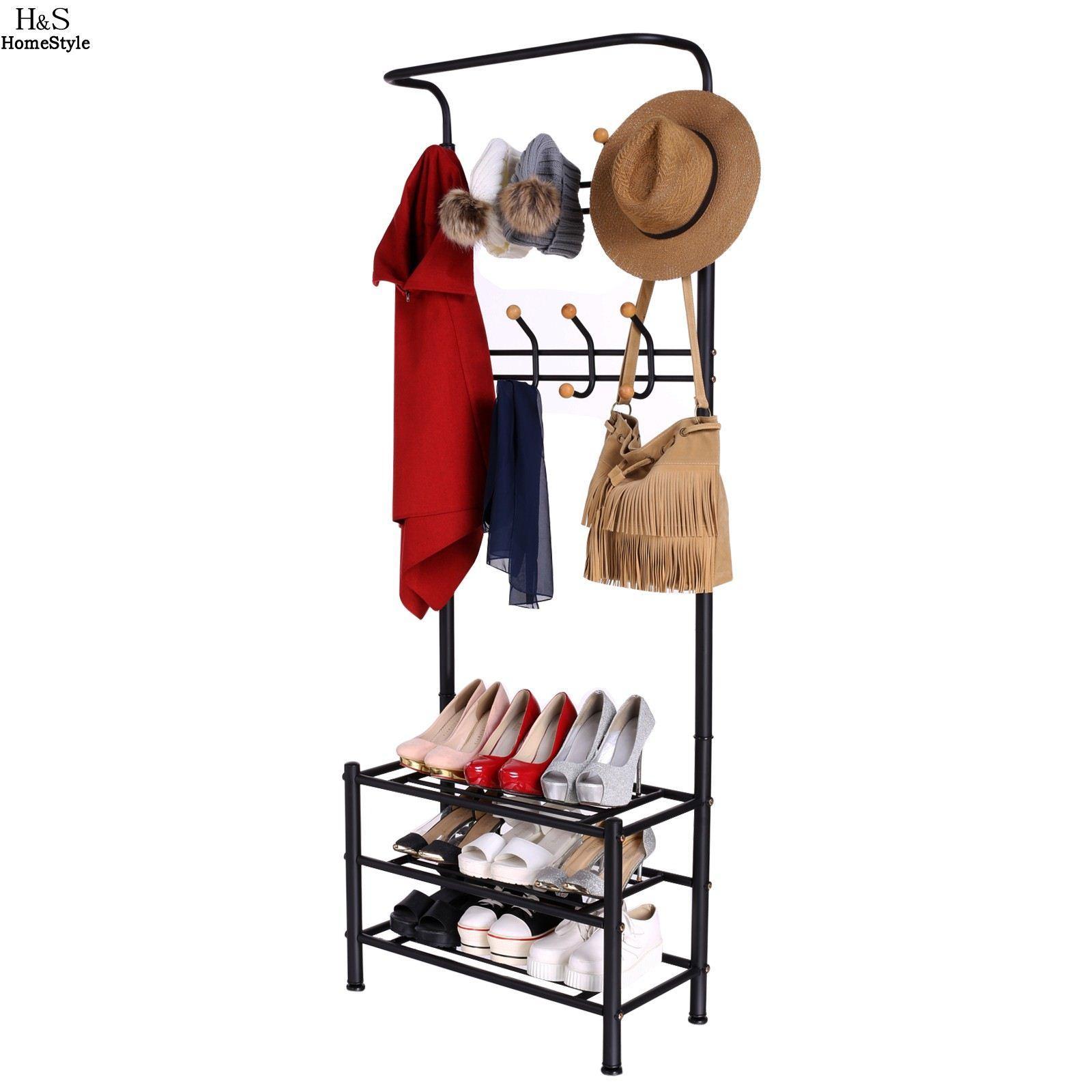 Shoe Rack Coat Hanger.2019 Homdox 3 Tiers Garment Hat Coat Hanger Metal Clothes Rack Shoe Shelf Organizer Us Store From Tanzhilian 79 51 Dhgate Com