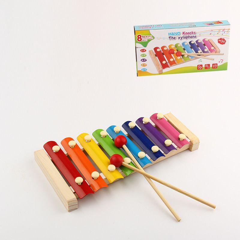 خشبية صغيرة ثمانية قرع اليد تدق إكسيليفون تدق الطفل الخشبي بدء الطفولة المبكرة اللعب بالجملة