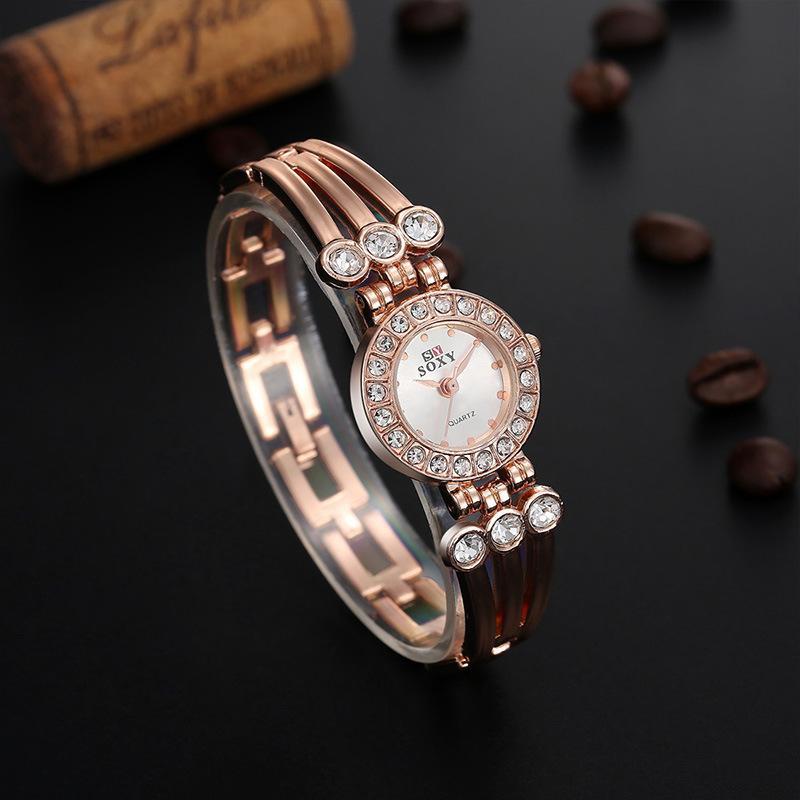 Fine New Style Geneva Bling Crystal Women Girl Unisex Stainless Steel Quartz Wrist Watch 2piece/lot
