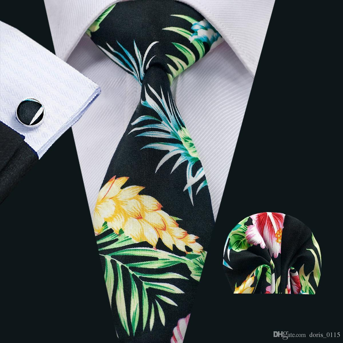 Black Floral Mens Ties Sets Classic Cotton Neck Ties Tie Pocket Square Cuffinks Sets Formal Business Wedding Party Prom N-1324
