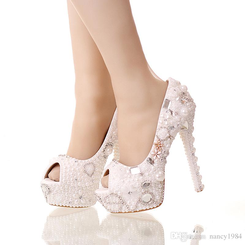 2019 Summer Peep Toe White Pearl Shoes Wedding Bridal 14cm High Heels Platform Crystal Bride Shoes Handmade Party Prom Pumps