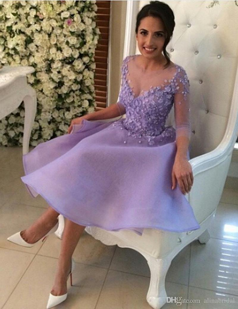Lilac / Lavendel Beaded Homecoming Dresses Applique Lace A Line Mini 8: e Graduation Gowns Långärmad Party Dress Sexig Illusion Prom Gown