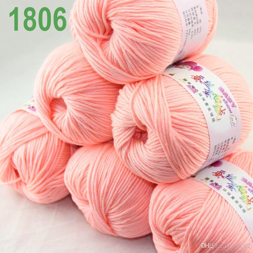 Продажа много 6 шаров х 50 г кашемир шелковый бархат детская пряжа розовый 1806