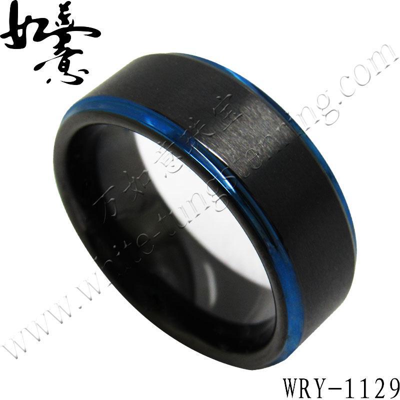 Anillos de carburo de tungsteno azul y negro de 8 mm para hombres WRY-1129