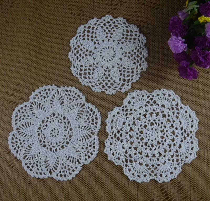Free shipping 30PCS/LOT wholesale 100% cotton hand made Crochet Doilies cup mat 13 color, Round Doily 18-20cm ab3h57