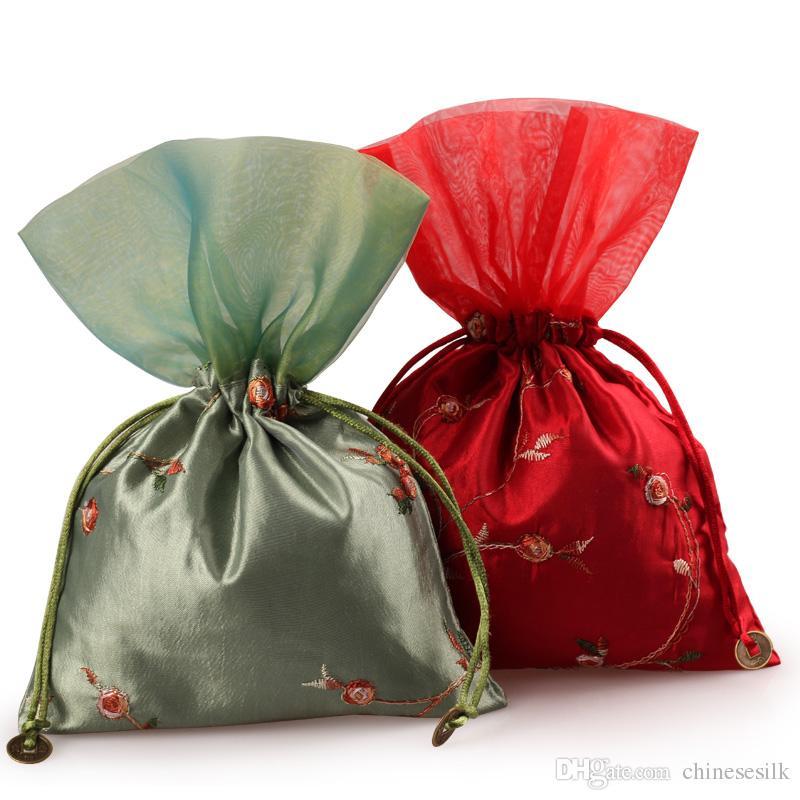 Frukt Broderad Patchwork Stor Smycken Påse Craft Satin Cloth Drawstring Packaging Candy Tea Trinket Presentväska Lavendel Storage