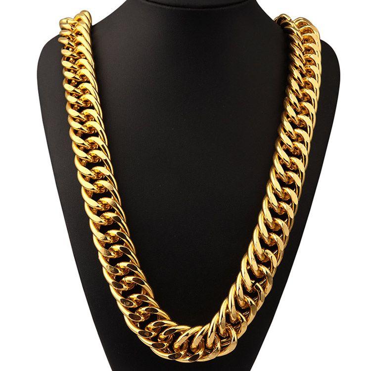 nuovo stile b179e f32ac Acquista Alluminio 18 Carati Placcato Oro Extra Grossa 2.6cm Catene Lunghe  Esagerate Collana Hip Hop Gioielli Hip Hop Cantante Street Dance Hipster ...