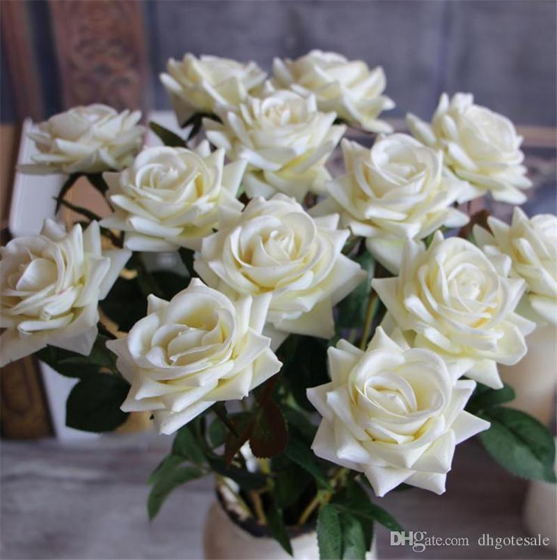 """HOT Einzelschaft Valvet Rose 50 cm / 19,69 """"Länge Künstliche Blumen Curling Rosen Kamelie für DIY Brautstrauß Zubehör 6 Farben"""