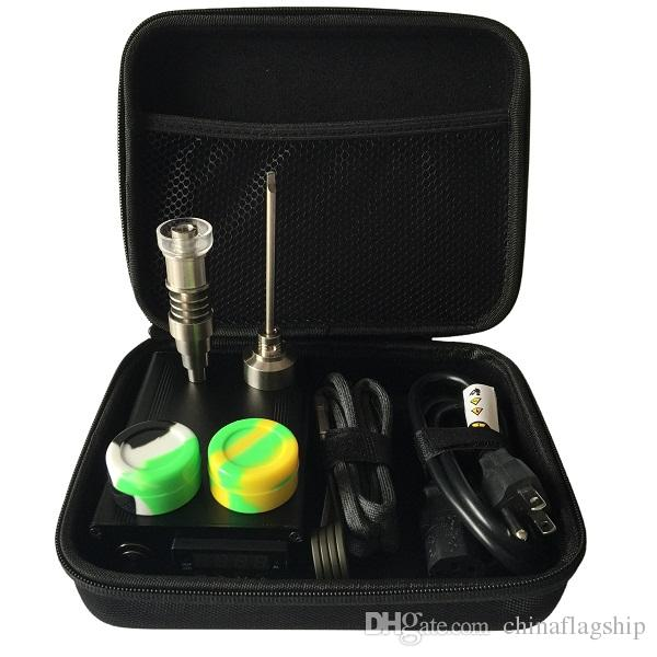 DHL free E Digital Nail kit contain 6 in 1 Ti/Qtz Hybrid nail fit flat 10mm/16mm/20mm heater coil for bong
