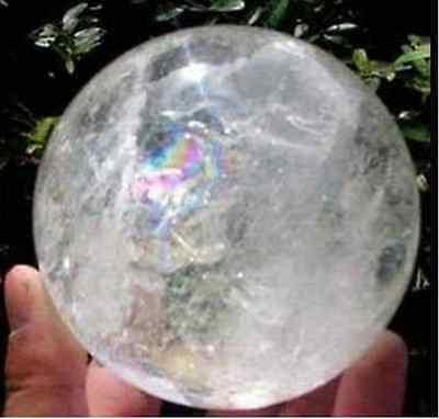 Natural Rainbow Clear Quartz Cristal Esfera Esfera Cura Gemstone35 -40mm + Stand