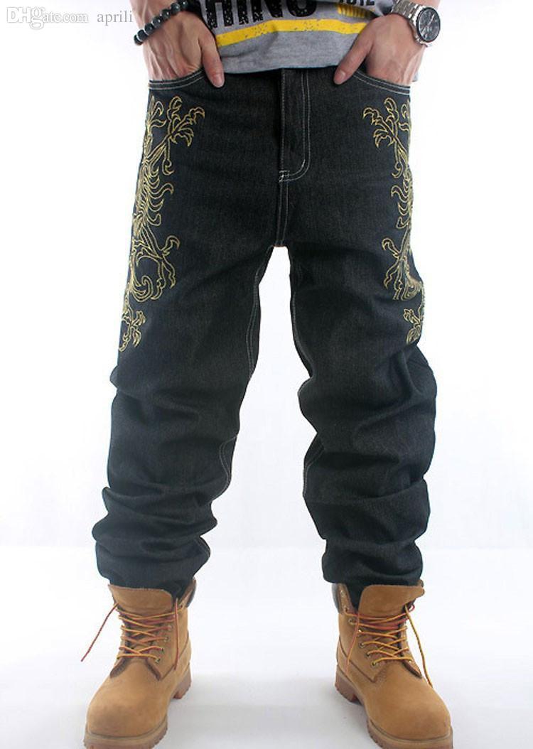 Atacado-2016New HIPHOP preto mens jeans hip hop ouro bordado solto estilo baggy menino denim calças homens calças de brim masculinas calças plus size30-42