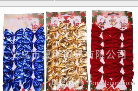 2017 Hot 12 pcs/set Christmas tree decoration bowknot ornaments red Gold Silver bow xmas new year decoration for home