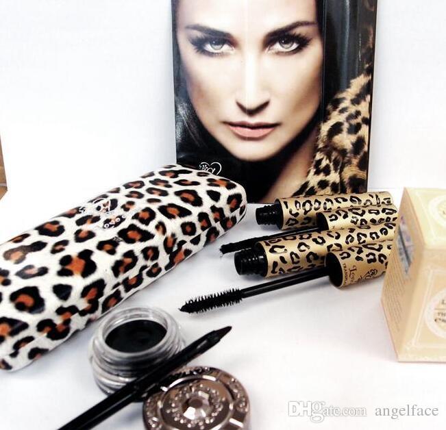 Sexy Black Mascara Love leopardo con estampado de leopardo alfa que alarga la marca de rímel mejor que las pestañas de fibra 3d máscara con caja