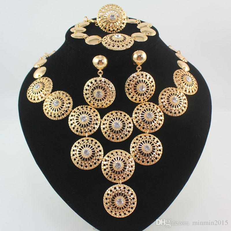 Dubai African Gold Plated Mysterious Charming Bridal Fashion Necklace Bracelet Ring Earring Women Costume Party Jewelry Sets
