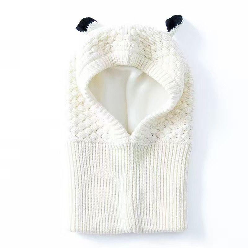 Wholesale White Toddler Ear winter Windproof Hats and Scarf set Baby Earmuff Cap Crochet headgear soft warm Hat Knit baby winter beanies