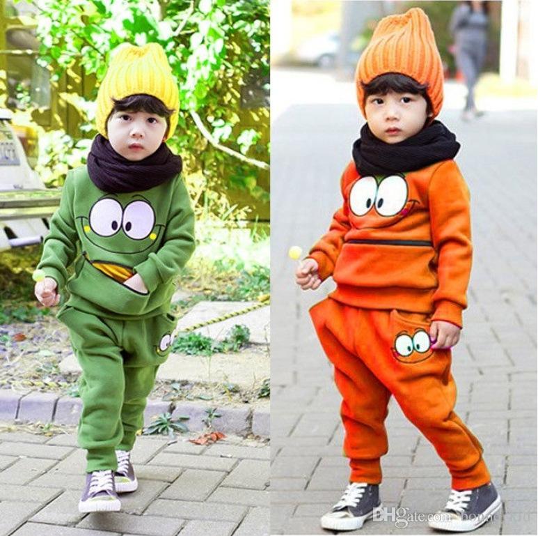 حار بيع خريف وشتاء صبي ملابس الاطفال ملابس خضراء اللون البرتقالي وجهه ابتسامة سستة جيب الصبي أعلى عارضة + بانت القطن طويل الأكمام مجموعة 2 قطعة