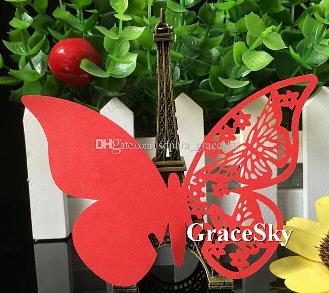 60pcs/lot Free Shipping Laser Cutting Beautiful Butterfly Shape Paper Wine Glass Place Seat Name Card for Paper Wedding Party Cup Decoration
