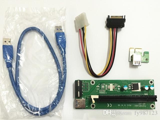 Vendita calda PCI-E PCI E Express 1x a 16x Scheda riser + Cavo di estensore USB 3.0 con alimentazione per Bitcoin Litecoin Miner 60cm