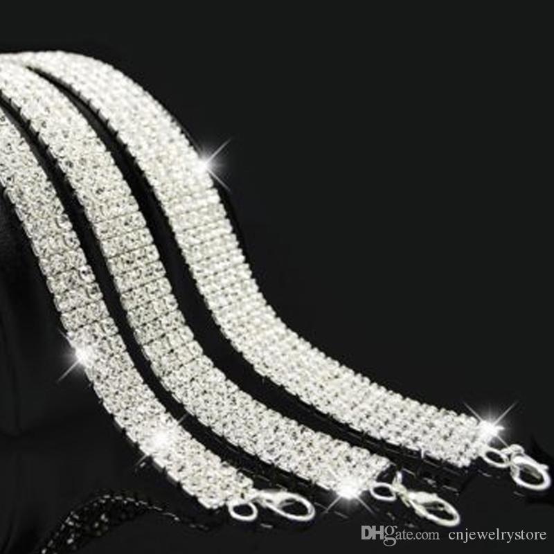Nuptiale De Fête De Mariage De Prom Multi-Rangée Stretch Strass Ras Du Cou Collier Stretchy Elasticated Sautoirs Bling Colliers Vente Chaude