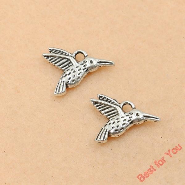 100 pcs Vintage Antique Banhado A Prata Pássaros Voando Encantos Pingentes para Fazer Jóias DIY Handmade 12x17mm fazer jóias