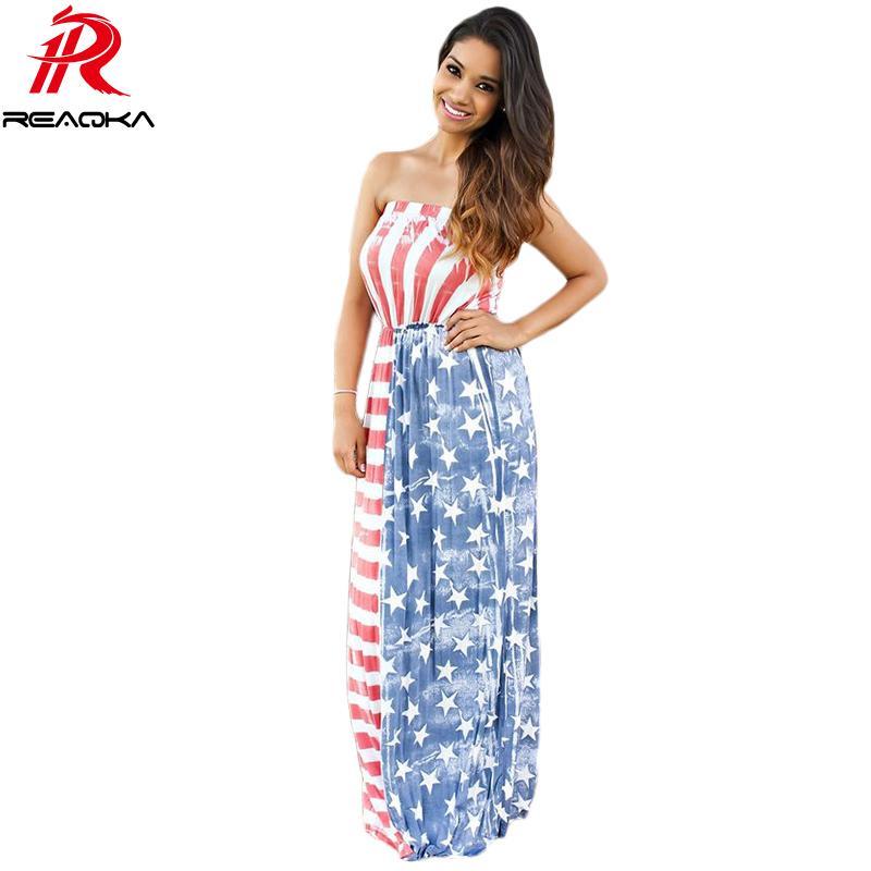 Reaqka 2017 Bohemian Style Beach Abiti Donna Estate senza spalline Sexy Vestiti da partito Stelle Stripe Stampa Ruffle Maxi Dress q1113