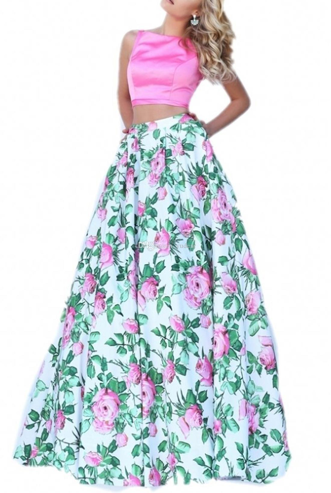Elegant Bateau 2019 Women Prom Dresses Two Pieces Sleeveless Simple Satin Flower Print Skirts Evening Party Gowns Zipper Cheap Cocktail Gown