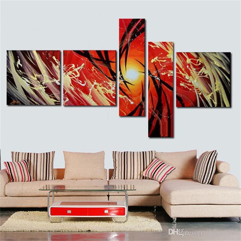 Abstrakte kunst gemälde modernes ölgemälde hauptdekoration schöne leidenschaft hohes q. abstraktes wandölgemälde auf leinwand 5pcs / set
