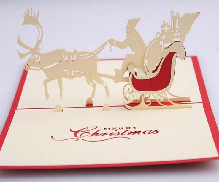 10pcs Santa Sled Deer Handmade Kirigami Origami 3D Pop UP Greeting Cards Invitation Postcard For Birthday Christmas Party Gift