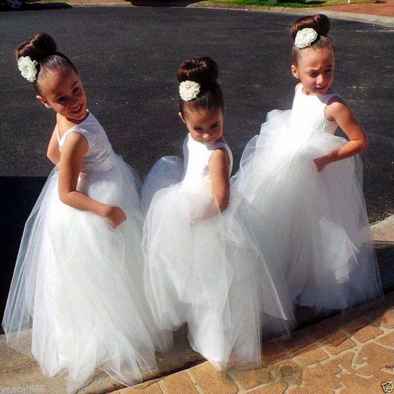 Cute White Tulle Flower Girl Dresses Sexy Backless Floor Length Flower Girl Dresses For Weddings First Communion Dress Cheap Tutu Child Gown