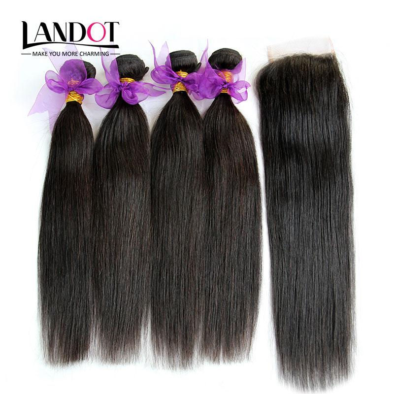 5Pcs Lot Peruvian Straight Virgin Human Hair Weaves With Lace Closure 100% Peruvian Straight Hair 4 Bundles And Closures Free/Middle/3 Part