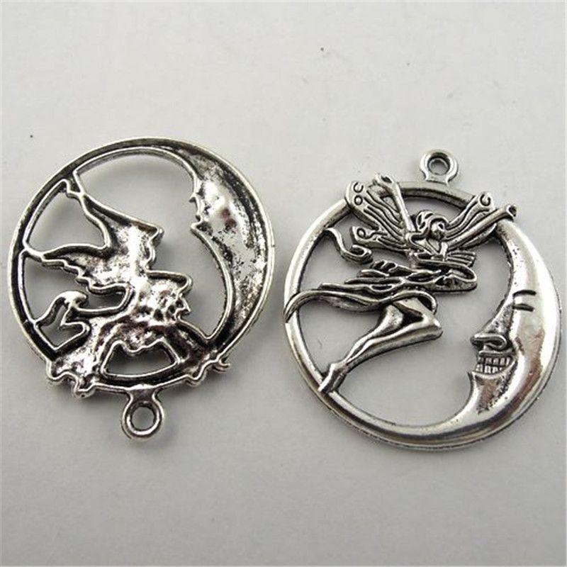 10 Unidades / pacote de Prata Antigo Anjo Da Lua de Zinco Liga Pingente Charme Jóias Encontrar 28 * 2mm AU08739 jóias fazendo