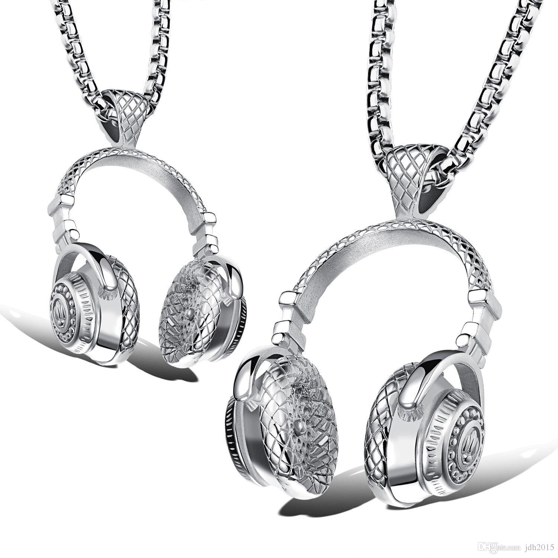 Hip Hop DJ Wireless Headphone Design Mens Stainless Steel Pendant Necklace