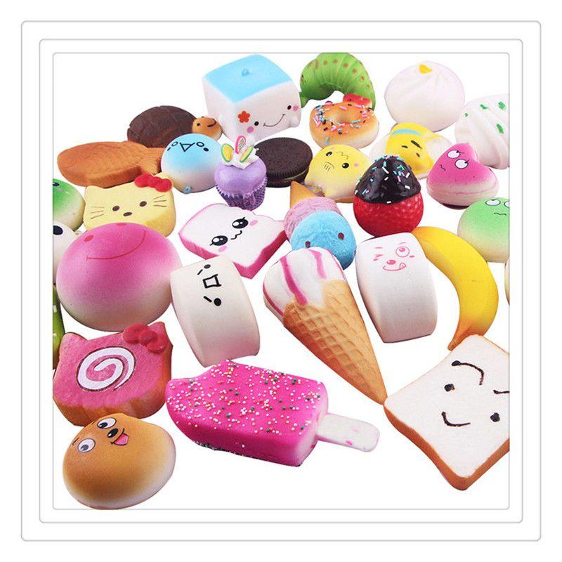 Wholesale 10Pcs Squishy Slow Rising Squishies Ice Cream Cake Bread Strawberry Squishy KeyCharm Phone Straps Soft Fruit Squishies Free DHL