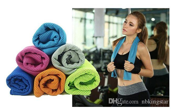 2016 Summer NEW PVA Cooling Ice Towel Soft Breathable Gym Yoga Towel 6 Colors Available Free Shipping