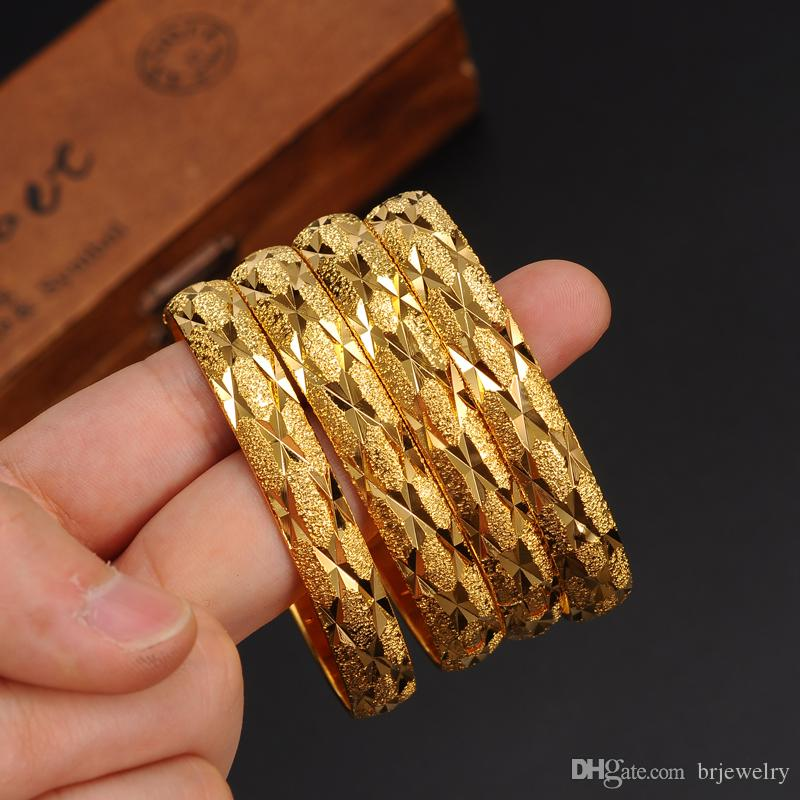 1 pc New Arrival Wide 8MM Dubai Gold Bangles For Women Men18k Gold Color Bracelets African/European/Ethiopia Jewelry Bangles