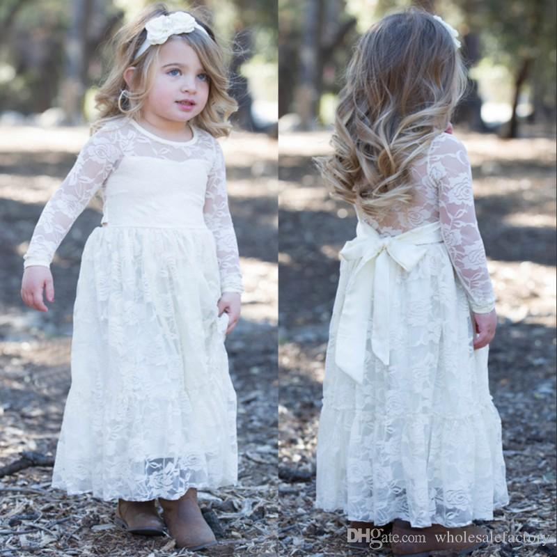 Blanco Una línea de diseño de encaje de flores niña vestidos joya cuello princesa manga larga niños niñas fiesta de noche formal viste vestidos MC0366