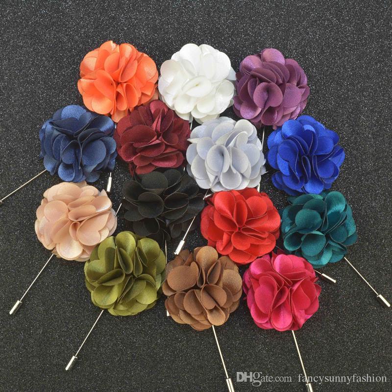 Centilmen takım elbise giymek Erkekler Aksesuar moda Saten çiçeklerle Fiyat Ucuz Lüks Çiçek Broş yaka iğneler El Yapımı boutonniere Çubuk
